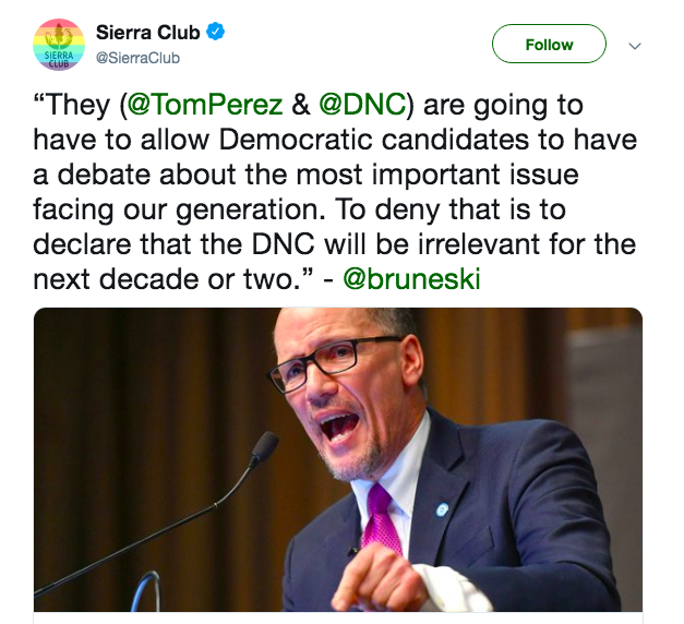 Tell DNC Chair Tom Perez to schedule a climate debate!