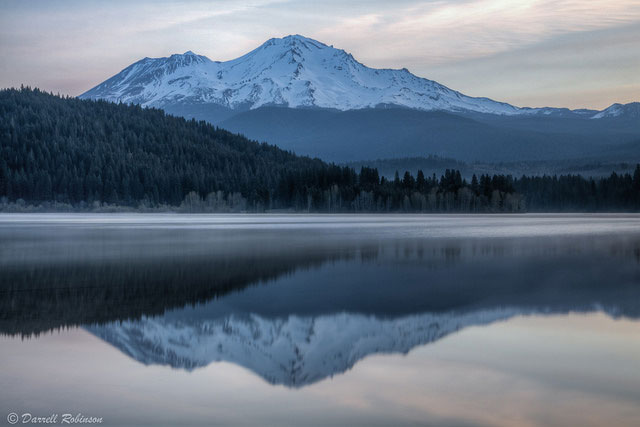 A view of Mt.                                       Shasta reflected in Lake Siskiyou,                                       Shasta, California