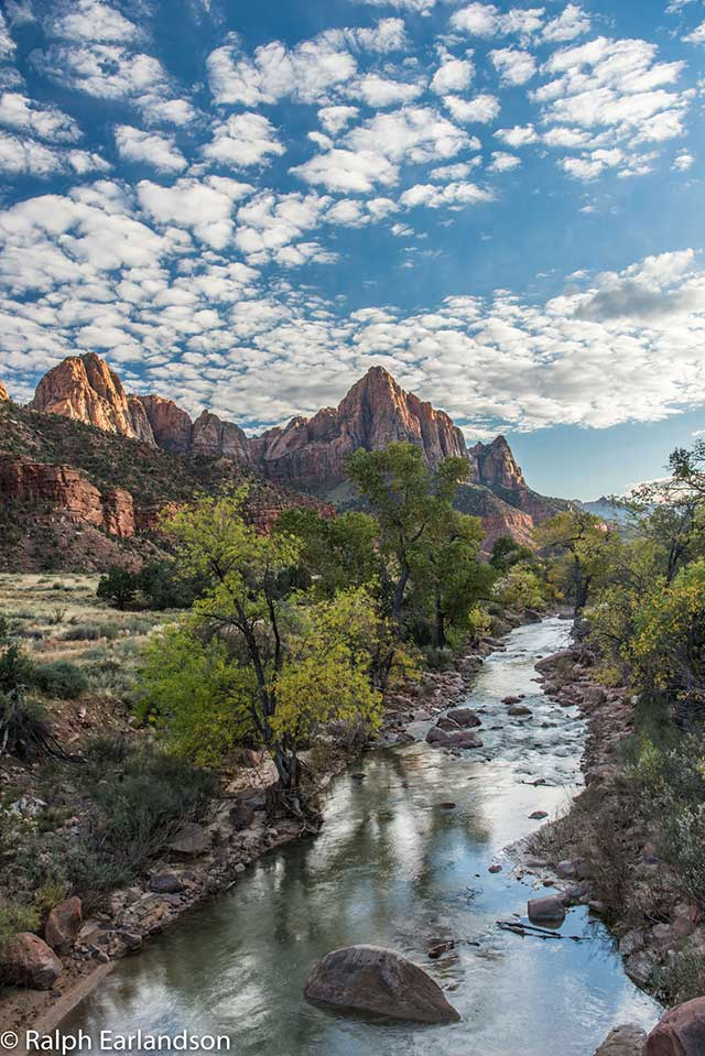 The                       Watchman and the Virgin River in Zion National                       Park, Utah