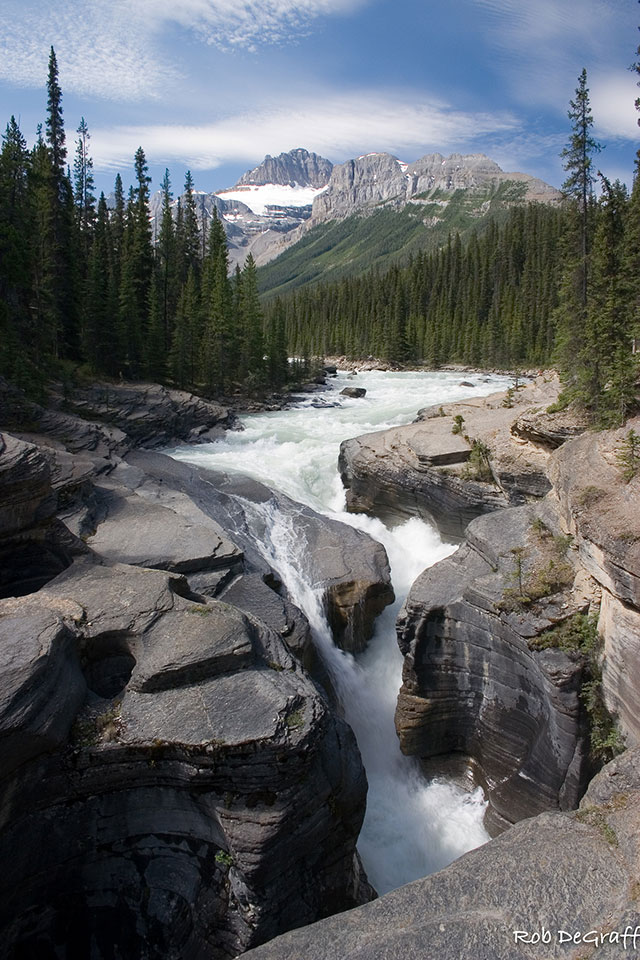 Mistaya River shown below Mt. Sarbach,                                                         along the                                                         Icefields                                                         Parkway in Banff                                                         National Park.                                                         Alberta, Canada                                                         --